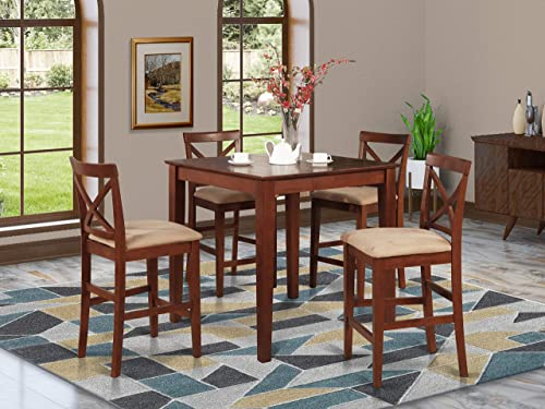 PUBS5-BRN-C 5 Pc counter height Dining set-gathering Table and 4 counter height Chairs