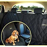 2-in-1 Dog Seat Cover For Back Or Front Car Seat | Money Back Guarantee | 2 Piece Zipper | Black, Waterproof, Non-Slip, Hammock Or Bench Seat Pad Plus Free Cleaning Roller