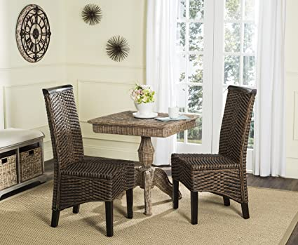 Amazon Com Safavieh Home Collection Ilya Wicker Dining Chair Brown
