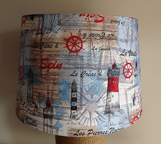 Lighthouse lampshade french shabby chic blue white red amazon lighthouse lampshade french shabby chic blue white red aloadofball Images