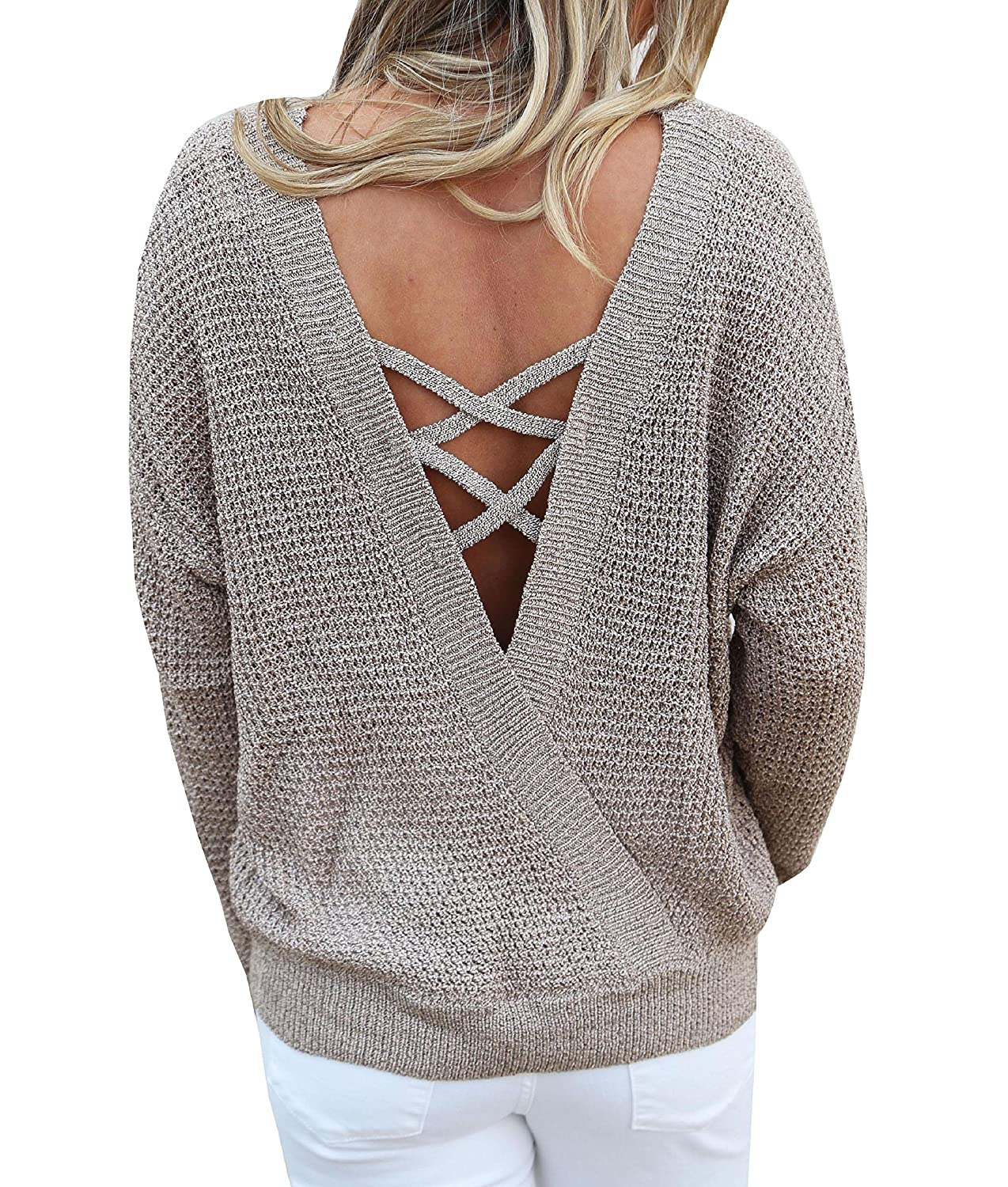 489d8f149cf488 Womens Open Back Sweater Backless Criss Cross Pullover Sweaters Cable Knit  Oversized Fall Jumper Tops at Amazon Women's Clothing store: