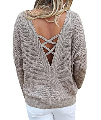7edd8d070e Image Unavailable. Image not available for. Color  Womens Open Back Sweater  Backless Criss Cross Pullover Sweaters Cable Knit Oversized Fall Jumper Tops