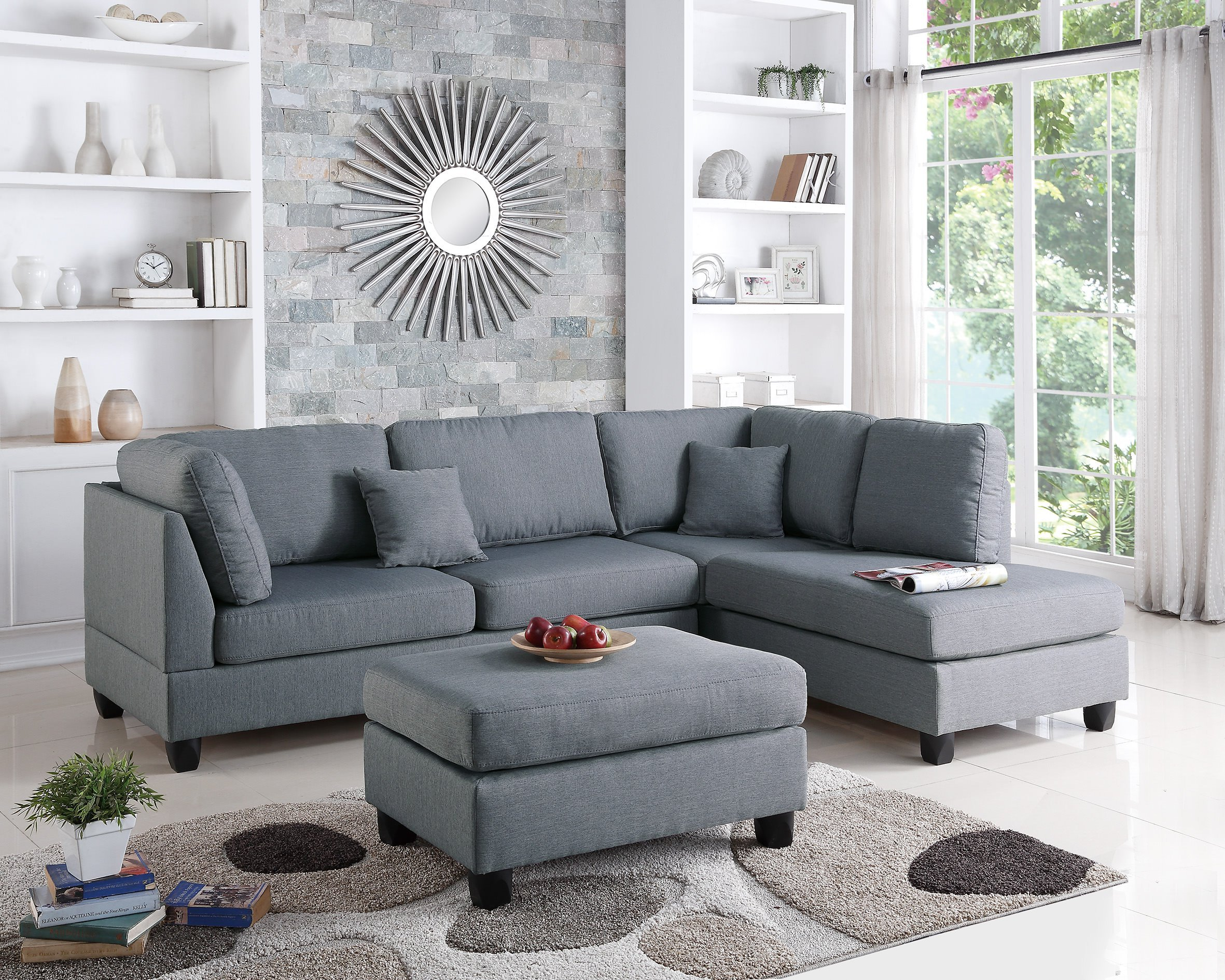 Poundex PDEX-F7606 Upholstered Sofas/Sectionals/Armchairs, Grey