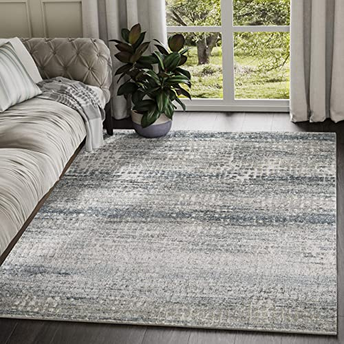 Abani Rugs Modern Distressed Pixel Print 7 9 x 10 2 Rectangle Area Rug, Vista Collection – Grey Rustic Contemporary Turkish Accent Rug