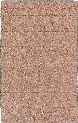 Rivet Sunset Textured Geo Pattern Wool Area Rug, 8 x 10 Foot, Pink