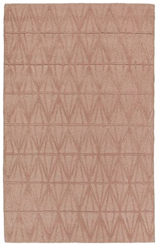 Rivet Sunset Textured Geo Pattern Wool Area Rug, 5 x 8 Foot, Pink