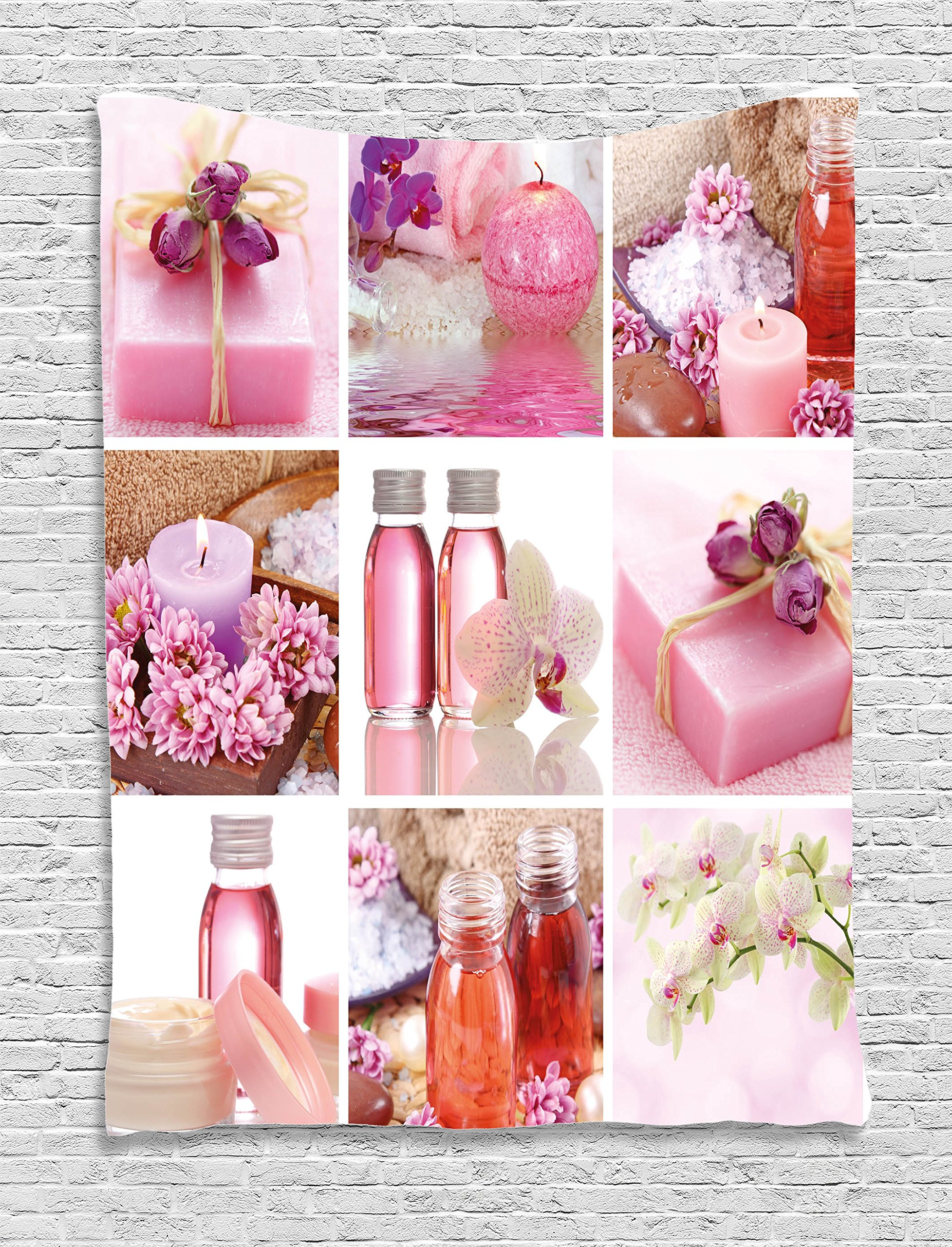 Ambesonne Spa Decor Tapestry by, Flowers Pink Gift Wraps Tiny Scent Bottles and Candles Image Collage, Wall Hanging for Bedroom Living Room Dorm, 60WX80L Inches, Lillium Pink and White