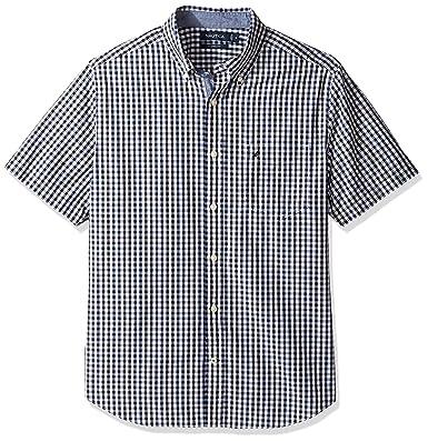 6a16df6a8947d5 Nautica Men's Short Sleeve Classic Fit Multi Color Plaid Button Down Shirt,  Maritime Navy,