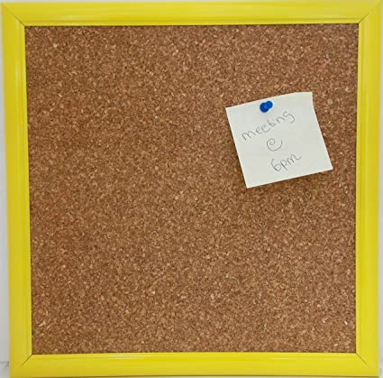 Amazon.com : Cork Board Overall Size 13x13 with Yellow Frame ...