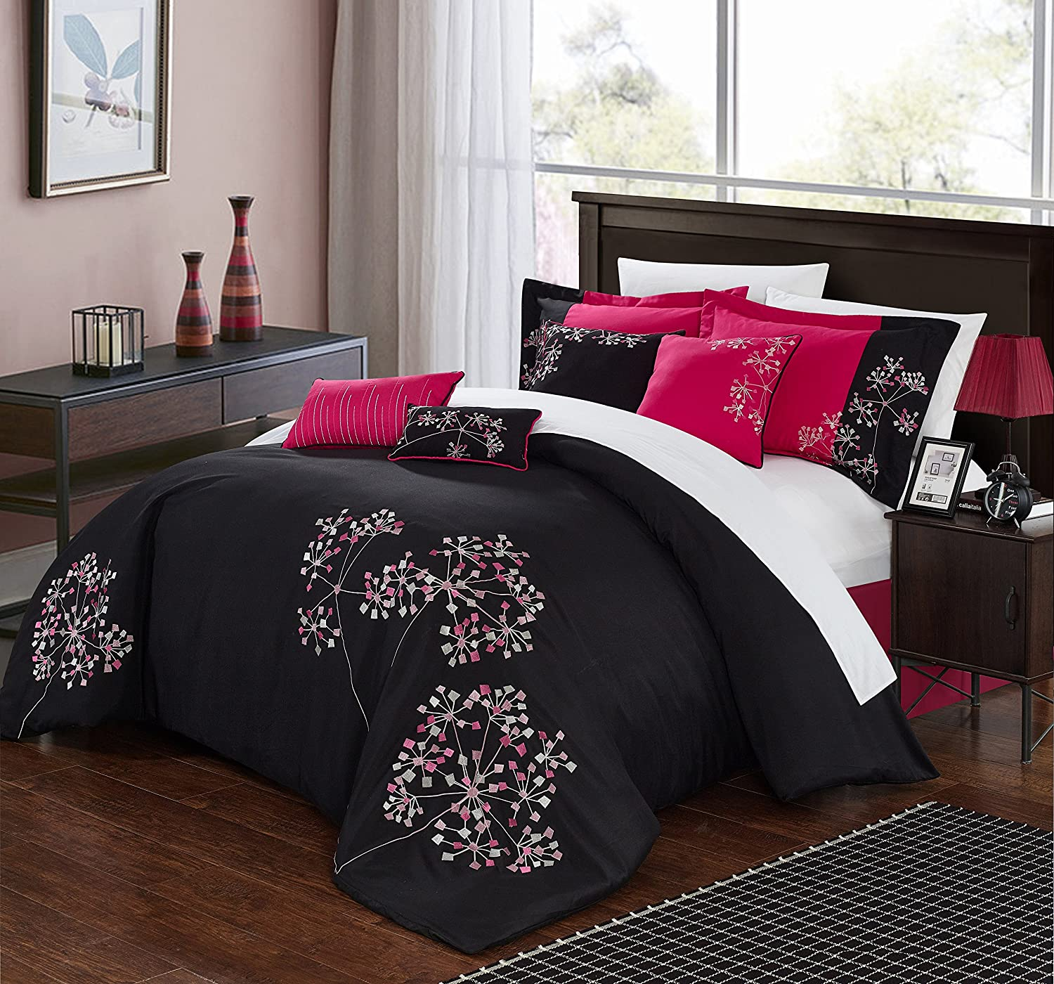Pink Floral 8 Piece Comforter Set Color: Black, Size: King