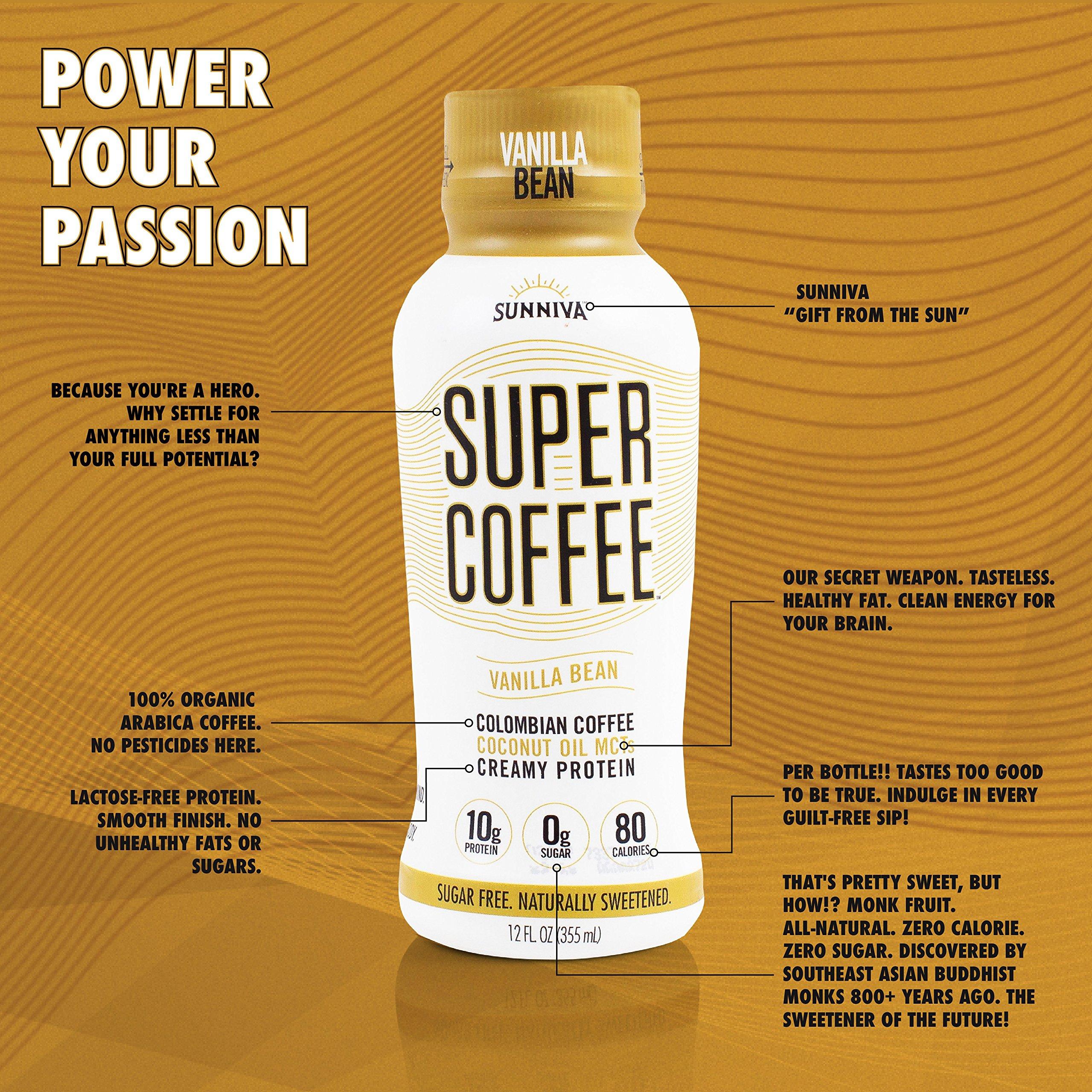 SUNNIVA Super Coffee Creamy Black NEW Sugar-Free Formula, 10g Protein, Lactose Free, Soy Free, Gluten Free, Case of 12
