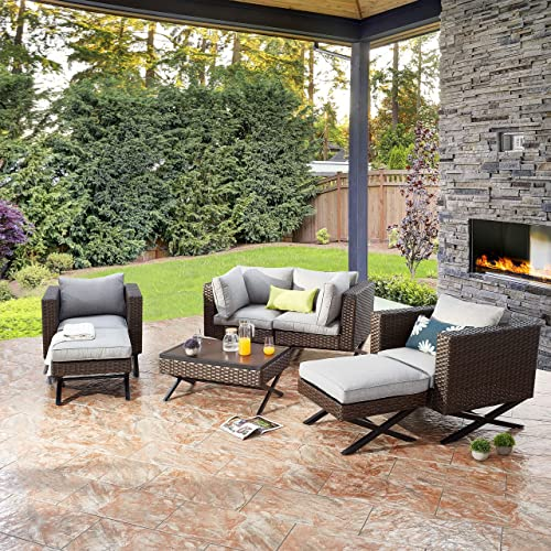 PatioFestival Wicker Patio Ottoman Outdoor Footstools Rattan Furniture X-Leg All Weather Footrest Seat
