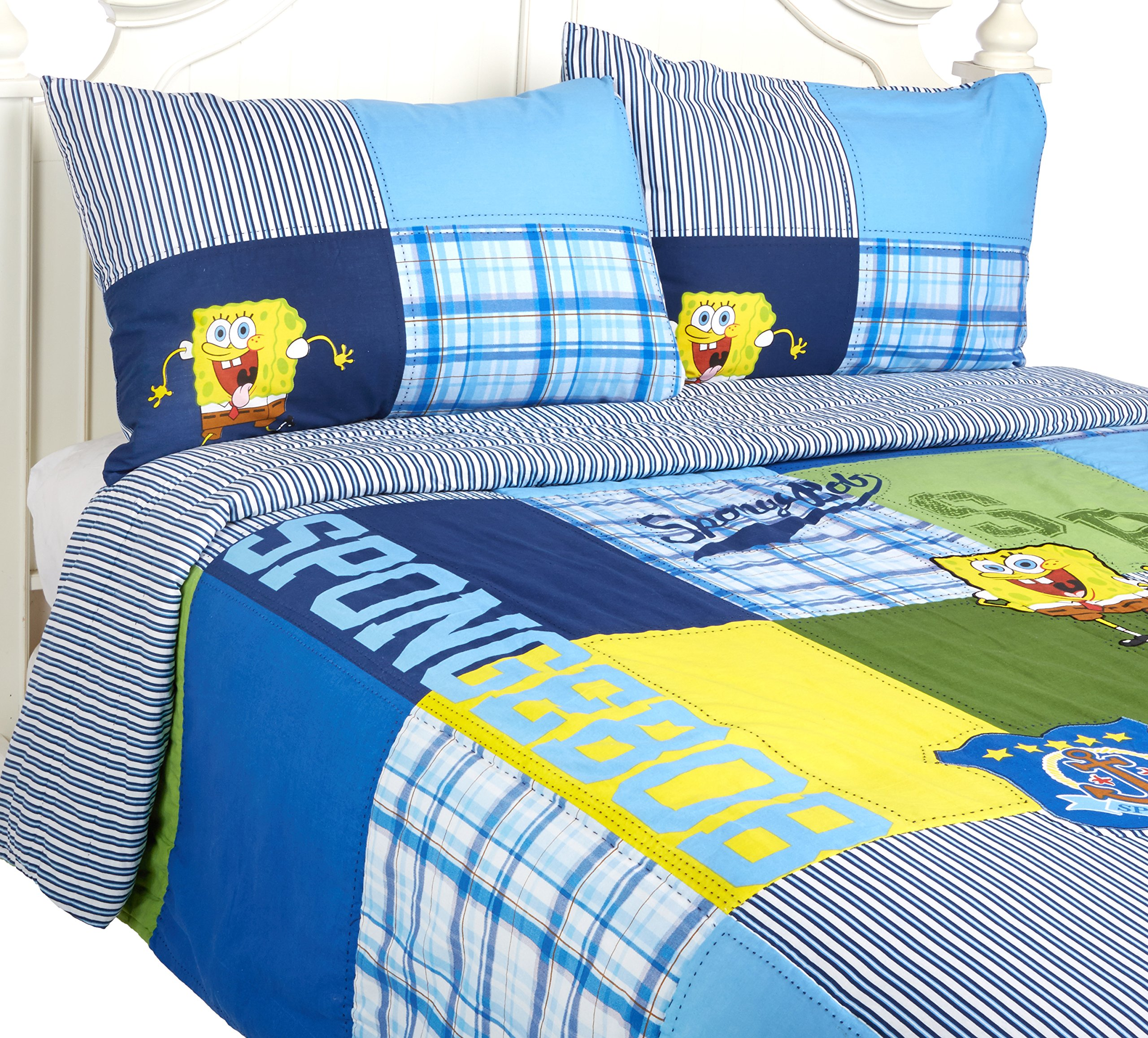 Spongebob Squarepants Throw And Pillow Set : SPONGEBOB Nickelodeon Quilt Set Full & Queen Size Pillow Shams Cotton BED COVER