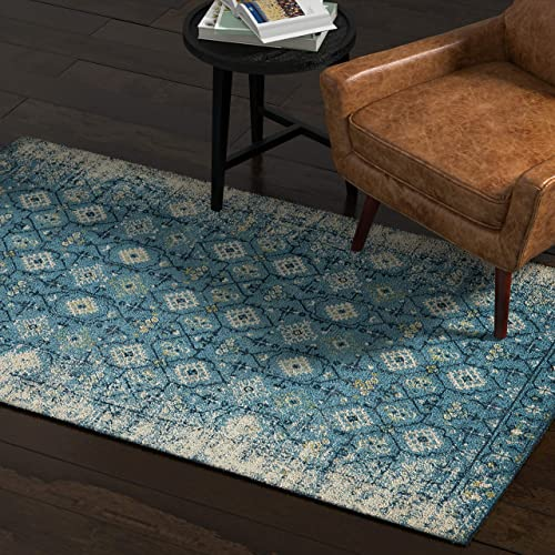 Rivet Modern Distressed Persian Area Rug, 4 x 6 Foot, Blue Multicolor