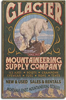product image for Lantern Press Glacier National Park, Montana - Mountain Goat Vintage Sign (10x15 Wood Wall Sign, Wall Decor Ready to Hang)