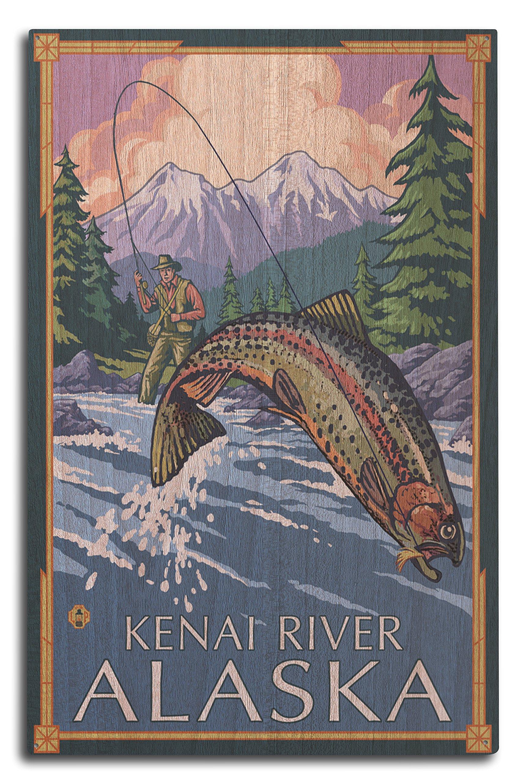 Lantern Press Kenai River, Alaska - Angler Fly Fishing Scene (Leaping Trout) (10x15 Wood Wall Sign, Wall Decor Ready to Hang)