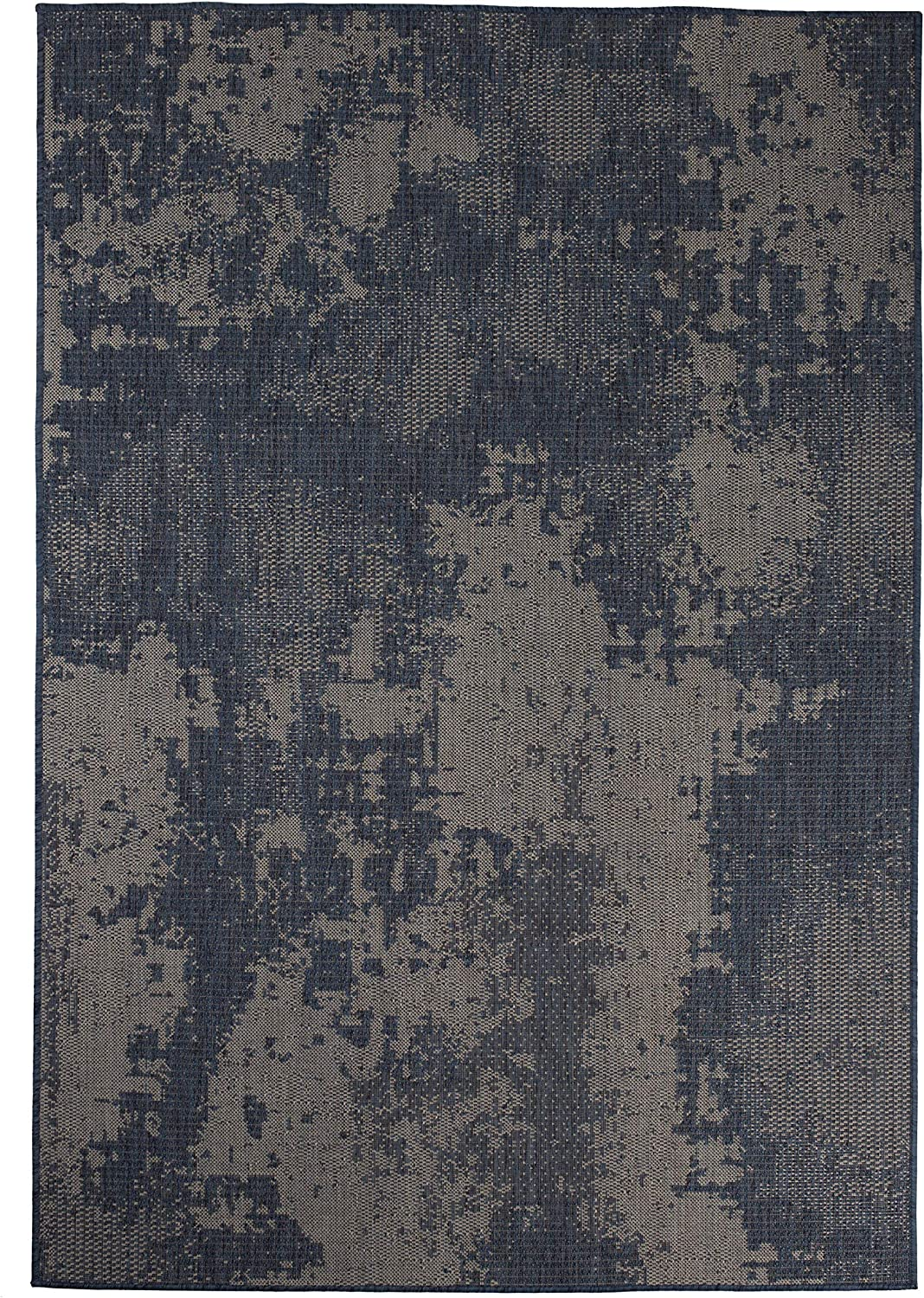 Furnish my Place Outdoor Collection Vintage Faded Rug - 5 ft. 3 in. x 7 ft. 6 in. Navy, Polypropylene Bohemian, Water Proof Rug for Patio, Bedroom (1126NVY5X7)