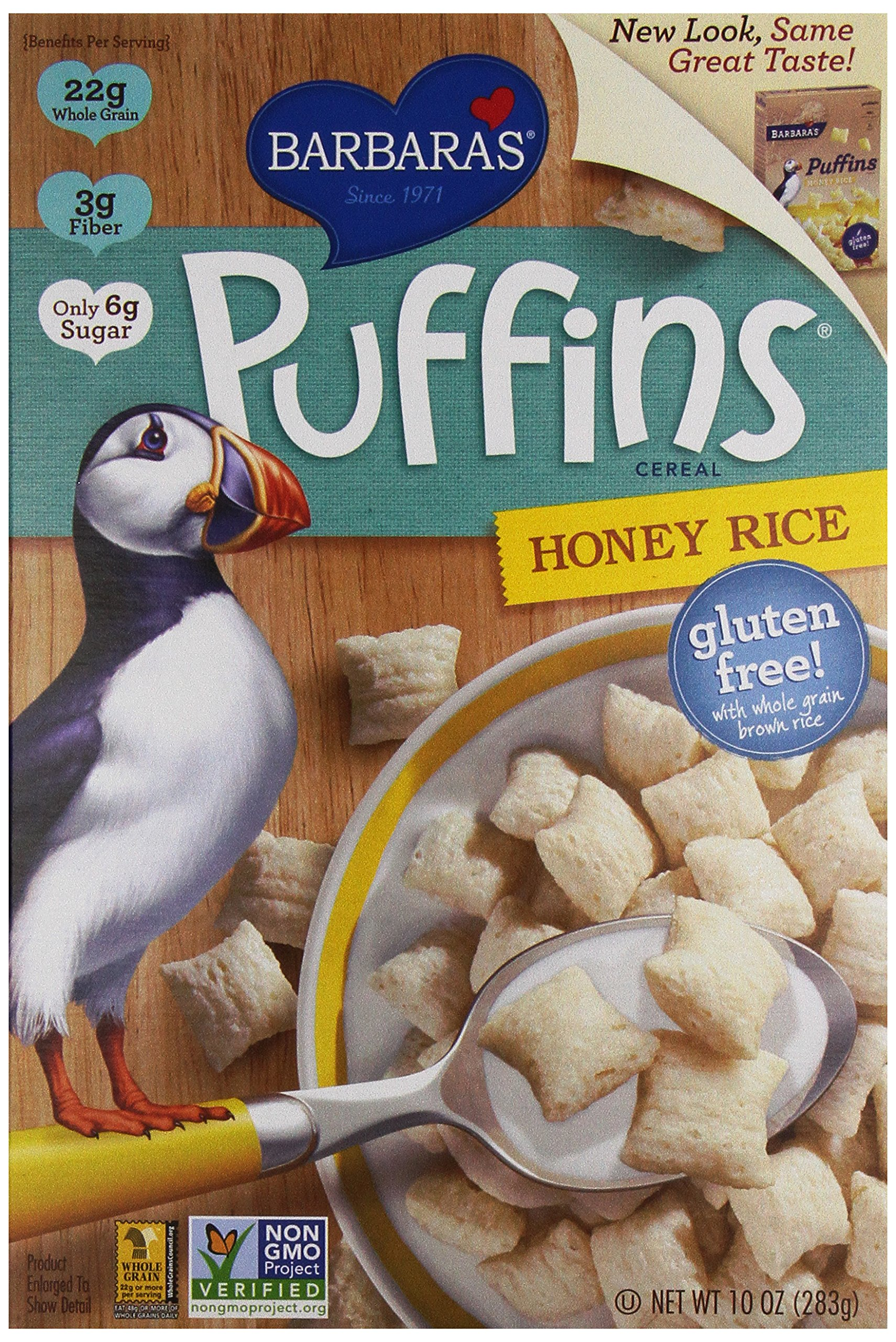 Barbara's Bakery Puffins Cereal, Honey Rice, 10 Ounce, Pack of 6 by Three Sisters