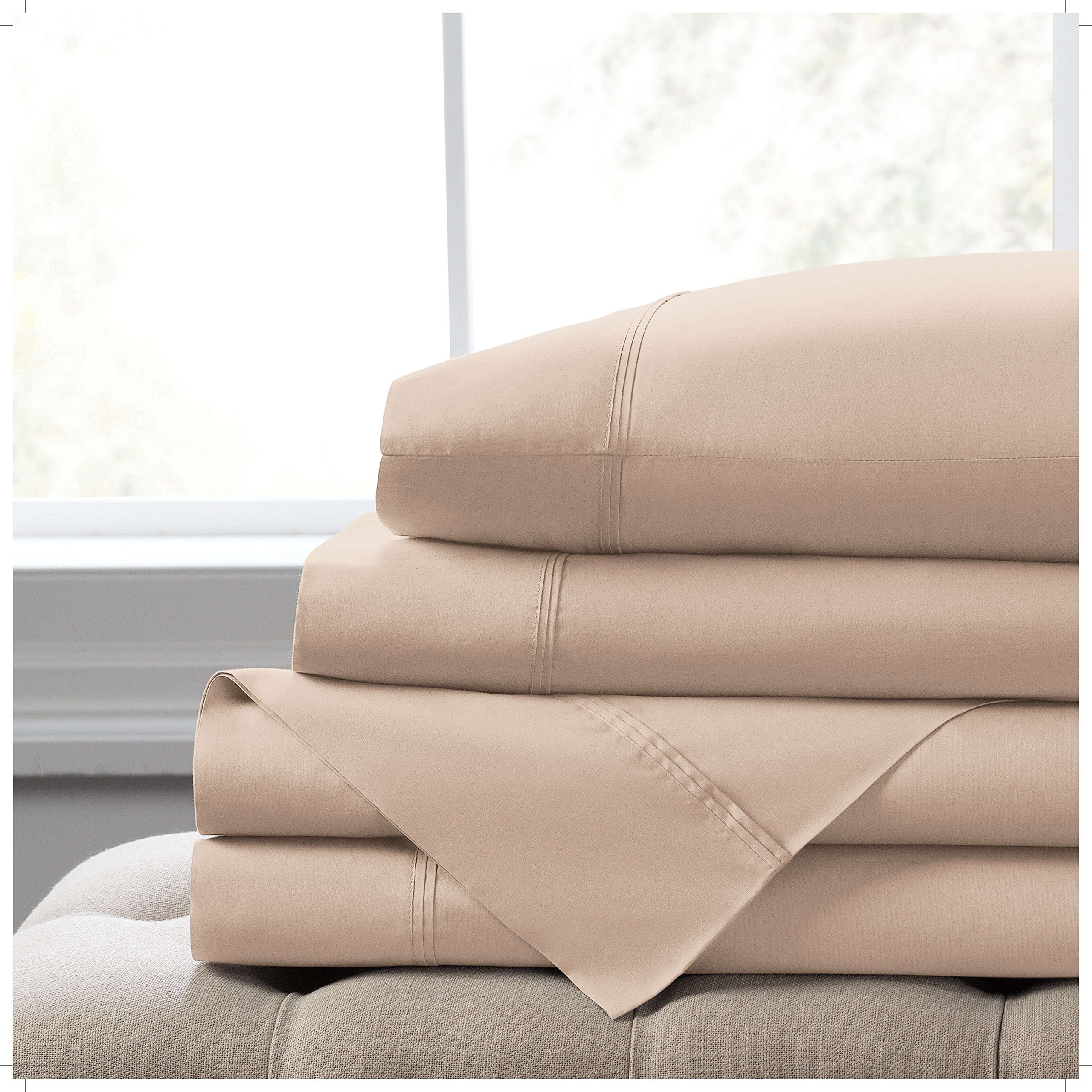 Elizabeth Arden Light-Weight 100% Long-Staple Cotton Percale Set of 2 Pillowcases - Ultra-Fine Natural Pure 300 Thread Count – Crisp & Cool - King Pillowcase Set of 2 - Taupe