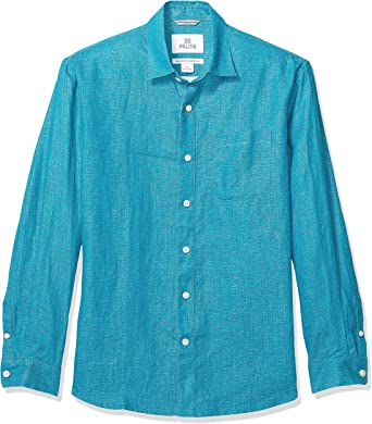 Marca Amazon – 28 Palms – Camisa de lino 100 % de manga larga de corte holgado para hombre, verde azulado, US XS (EU XS): Amazon.es: Ropa y accesorios