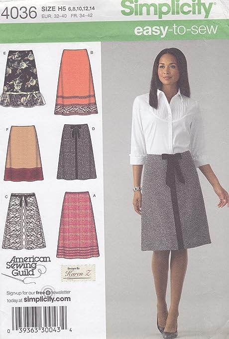 Simplicity 4036 - Patrones de costura para falda de mujer (tallas ...