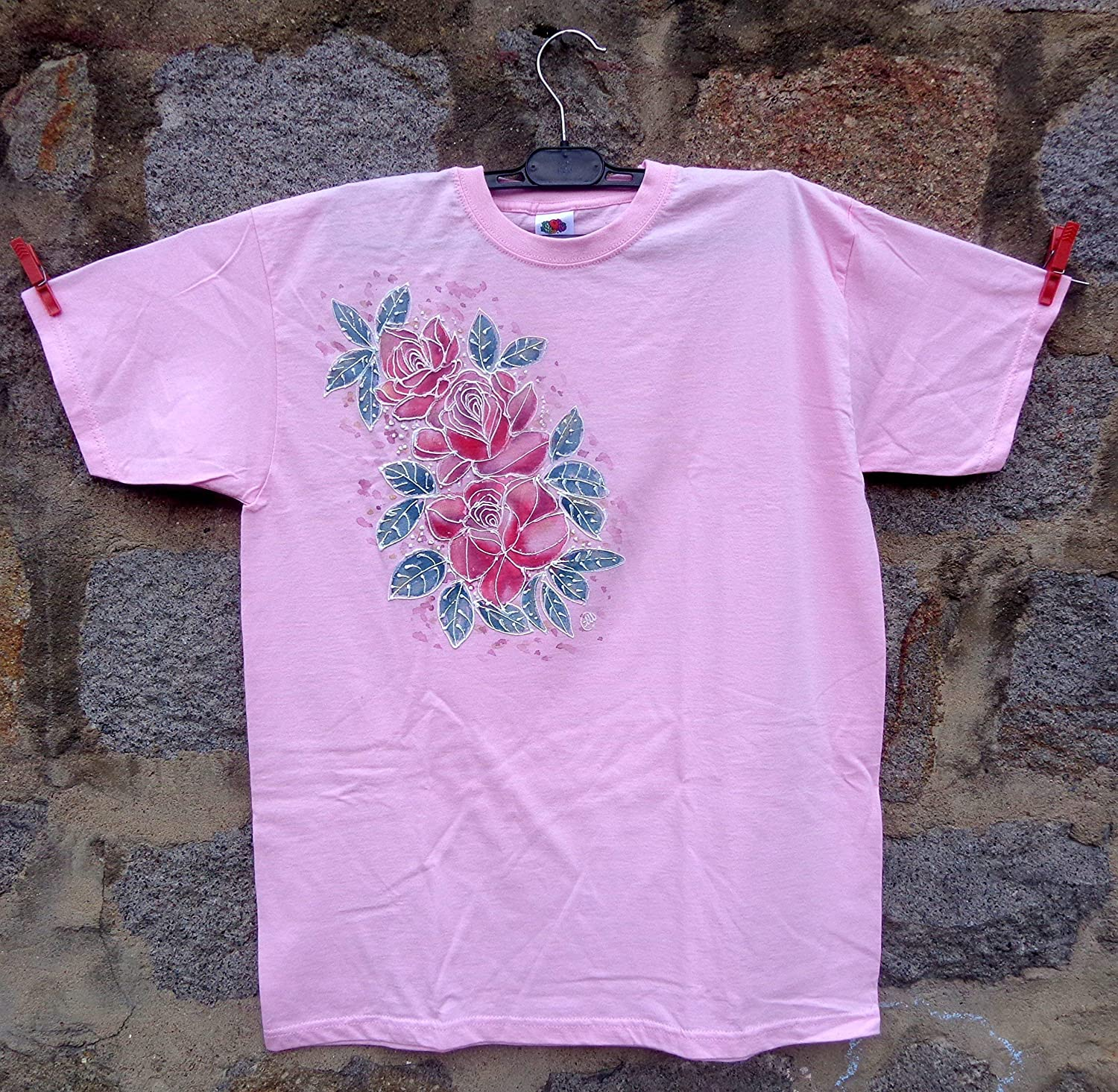ed3fa7c1a8994 Sale!!!30% Off,Hand Painted Roses Women's T-shirt/Girl Party/Pink ...