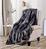 Viviland Faux Fur Plush Throw Blanket 50x60 Inches, Super Warm, Elegant, Fluffy Long Shaggy Blanket, Decoration Blanket for Sofa, Couch, Bed and Home Decor, Dark Gray