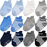 Baby Non Slip Grip Toddler Socks - Ergonomic Anti Skid Sole Grips For Boys Girls Toddlers Kids Infant - 12-36 Months Soft & Breathable Cotton Socks Set For Baby Boy Kid (Blue Craft)