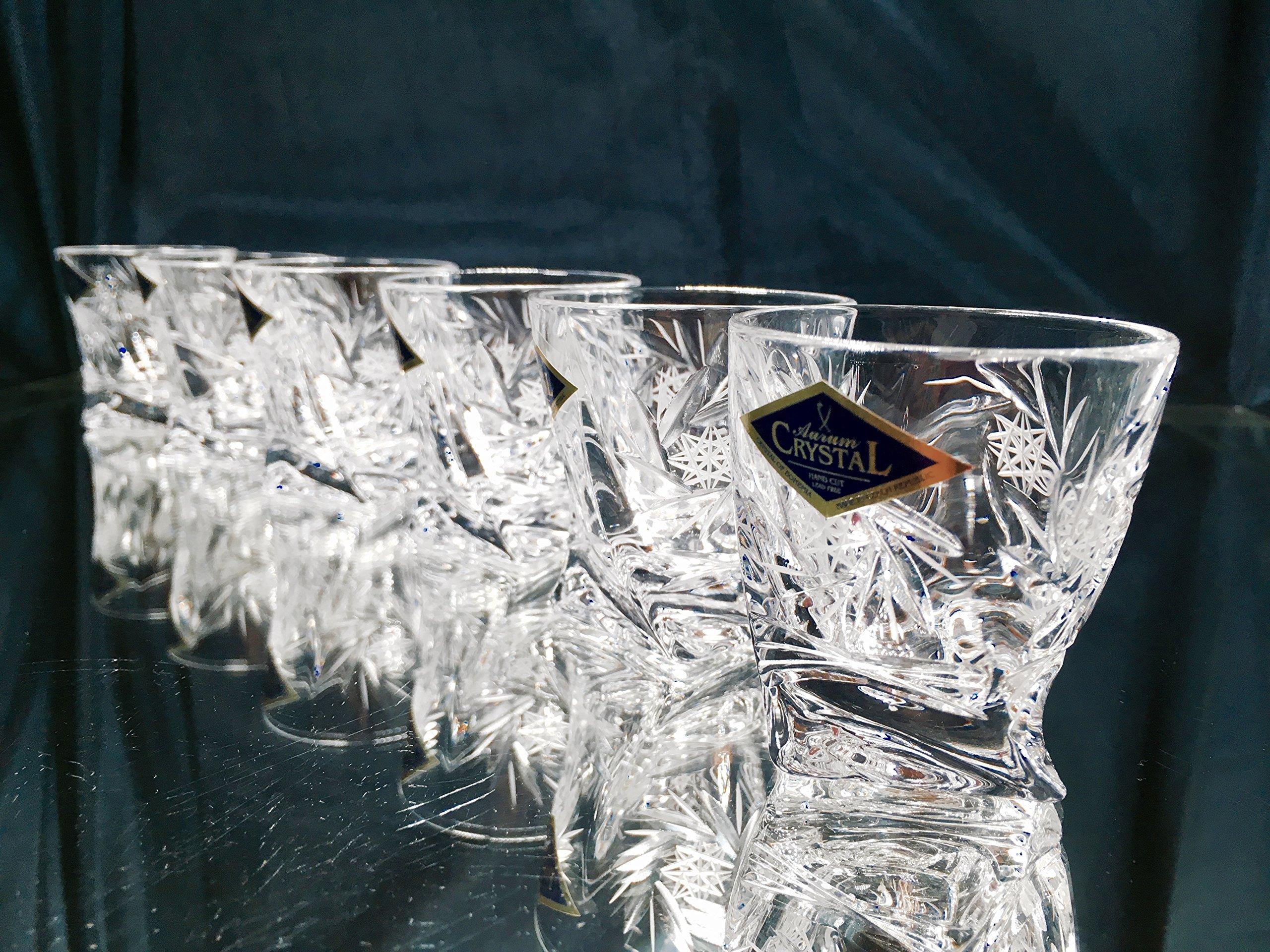 BOHEMIA CRYSTAL SHOT GLASSES 2oz. SET OF 6 HAND CUT CRYSTAL GLASS SHOTS for VODKA WHISKEY CORDIAL LIQUEUR SHERRY BRANDY COGNAC ELEGANT VINTAGE EUROPEAN DESIGN CLASSIC CZECH CRYSTAL GLASS by Aurum