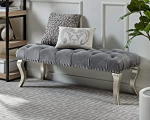 Roundhill Furniture Decor Maxem Tufted Fabric Upholstered Seat with Nailhead Trim Bench, Gray