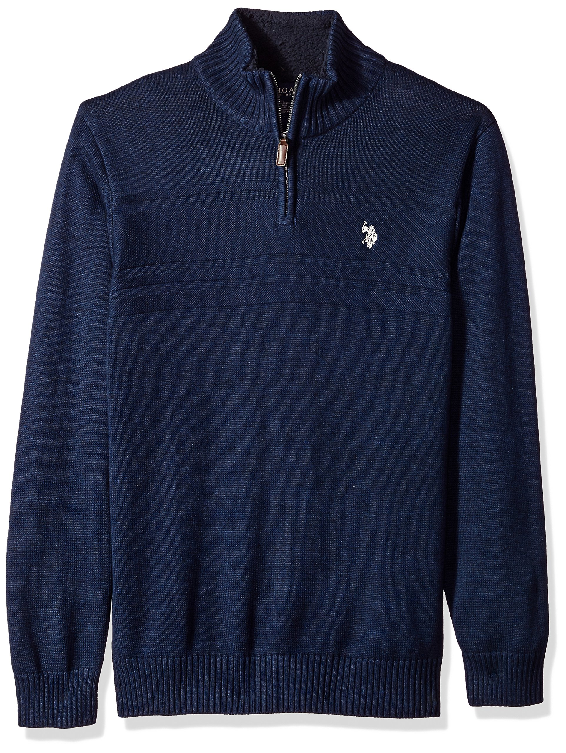 U.S. Polo Assn. Men's Solid Texture Chest Stripe 1/4 Sweater, Midnight Heather, Large by U.S. Polo Assn.