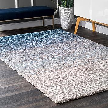 Nuloom Classie Hand Tufted Shag Area Rug 4 X 6 Blue Furniture Decor
