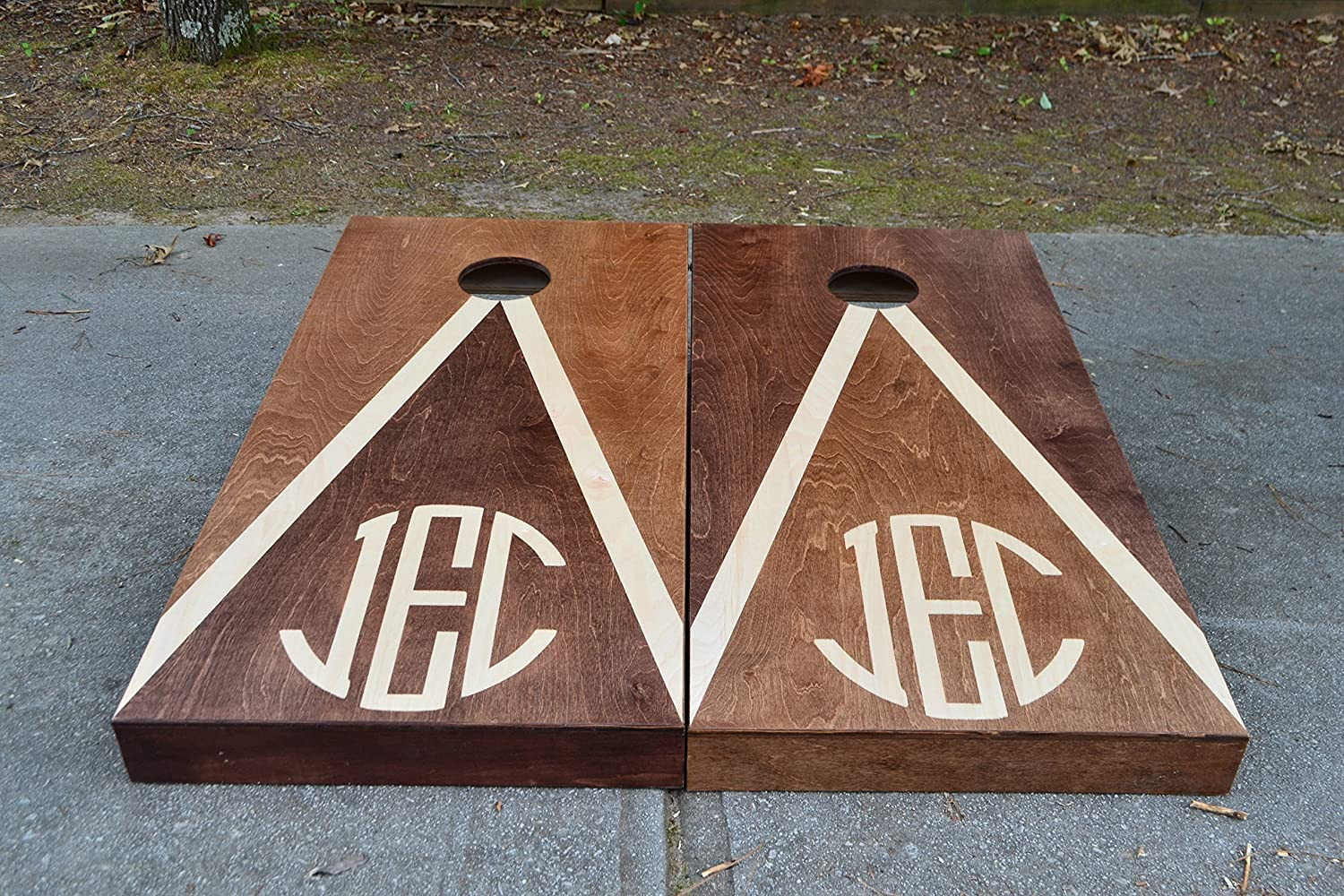 Custom Stained Personalized Monogram Cornhole Boards Set with Bags