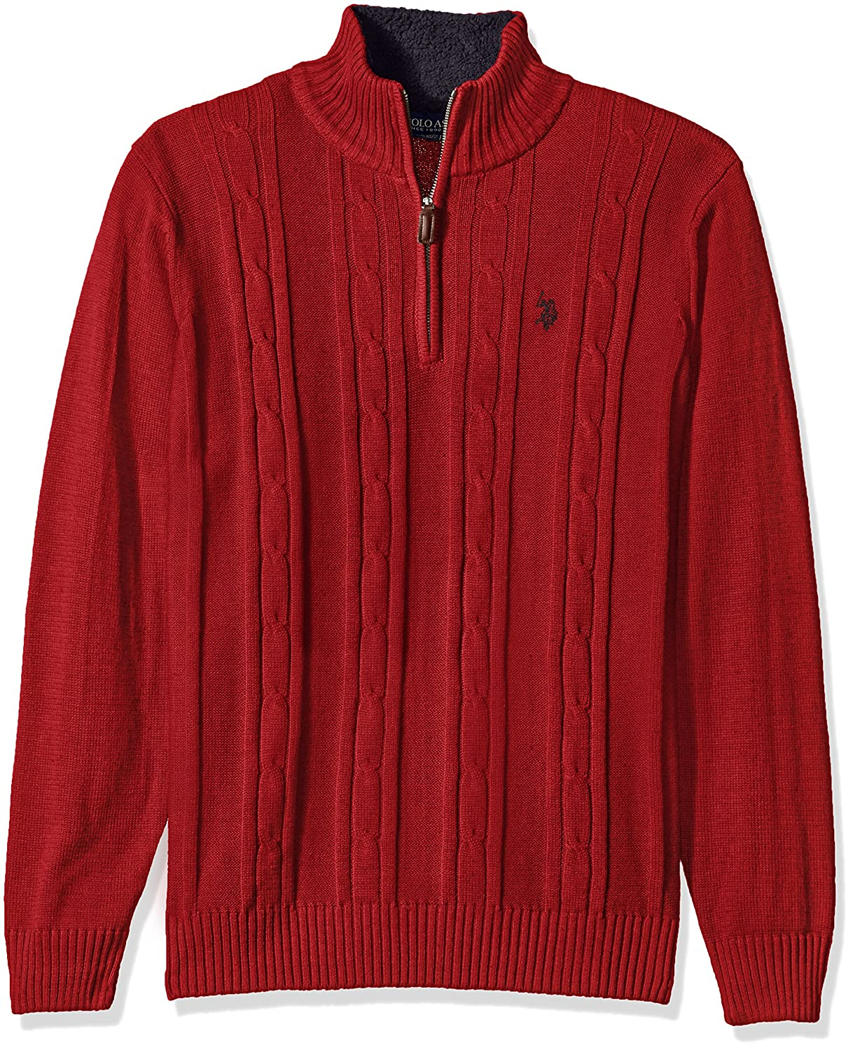 U.S. Polo Assn. Men's Solid Cable 1/4 Zip Sweater, ACUSR5712