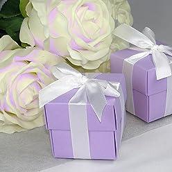 EinsSein 12x Kartonage Inbox Flieder mit Band Gastgeschenke Gastgeschenk Hochzeit Hochzeitsmandeln Bonboniere Kartonagen Geschenkboxen Geschenkbox Schachtel Mandeln Giveaways Wedding Favours Taufe
