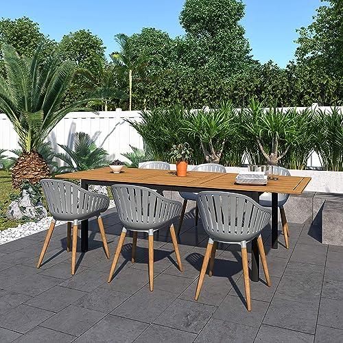 Amazonia Bruges 7-Piece Outdoor Rectangular Dining Table Set | Teak Finish | Ideal