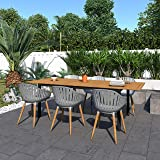 Amazonia Bruges 7-Piece Outdoor Rectangular Dining Table Set | Teak Finish | Ideal for Patio and Indoors