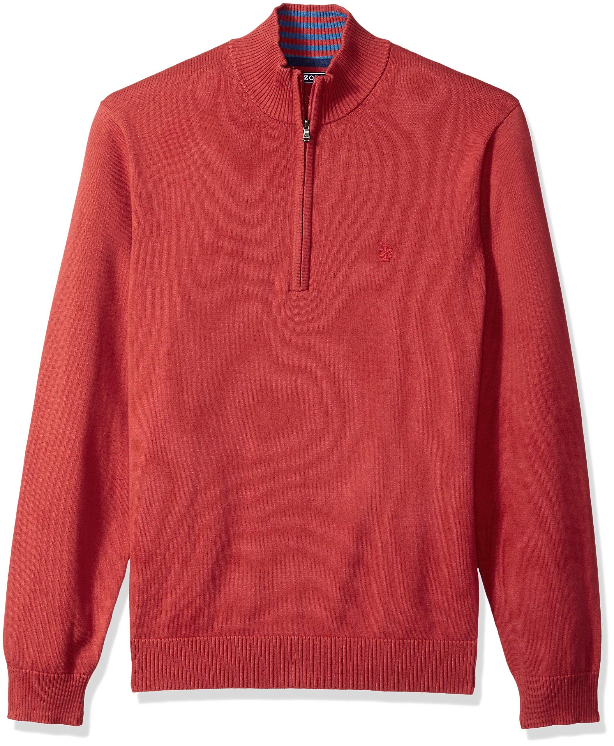 IZOD Men's Fine Gauge Solid 1/4 Zip Sweater, Saltwater Red, Small