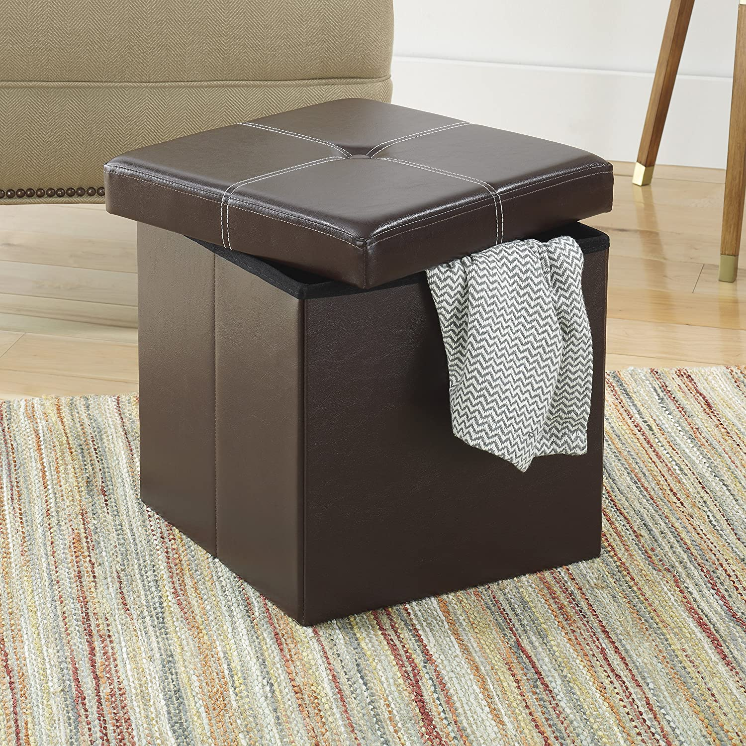 Brown 6919-8258-BRN Whitmor Faux Leather Collapsible Ottoman Storage
