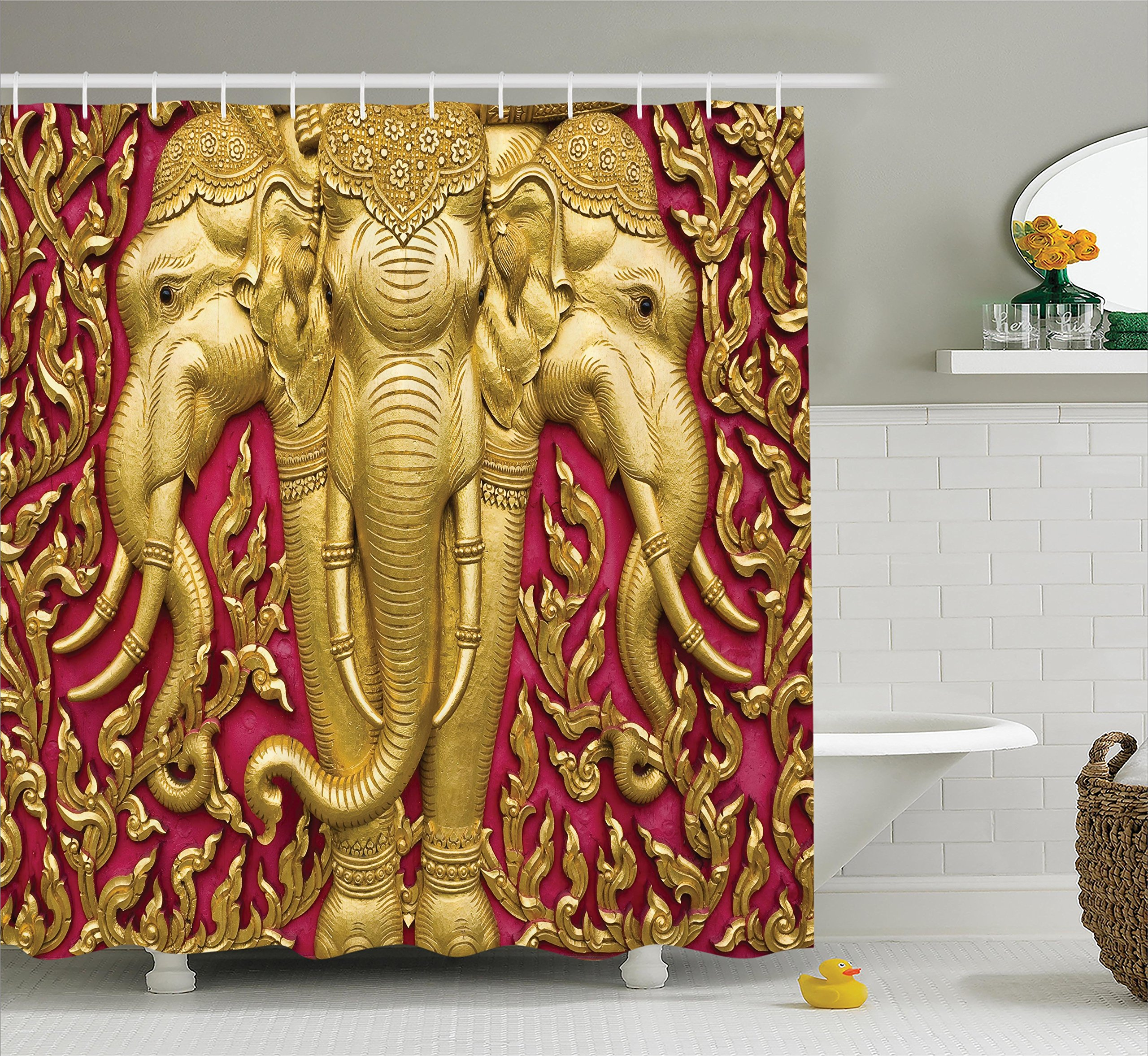 Ambesonne Elephant Shower Curtain, Yellow Toned Elephant Motif on Door Thai Temple Spirituality Statue Classic, Fabric Bathroom Decor Set with Hooks, 70 inches, Fuchsia Mustard by Ambesonne