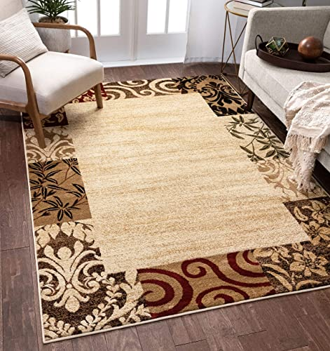 Well Woven Verdant Vines Beige Modern Damask Border Rug 9×13 9 3 x 12 6 Casual Oriental Easy Clean Stain Fade Resistant Shed Free Contemporary Floral Formal Gradient Soft Living Dining Room Rug