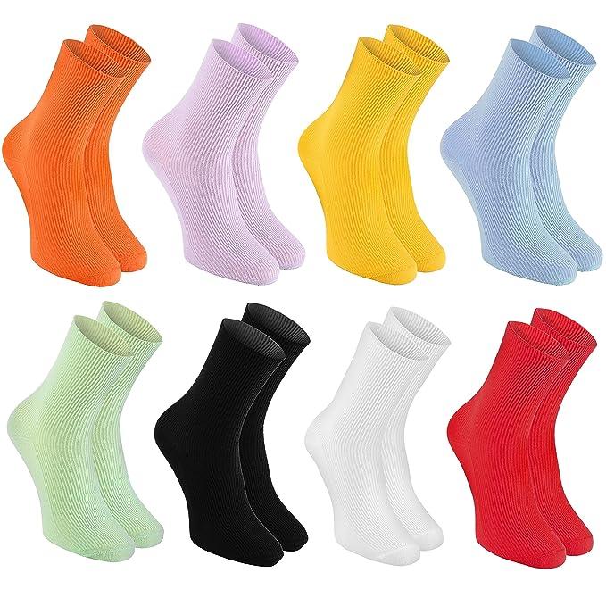 Rainbow Socks - 8 pares de Calcetines SIN ELÁSTICOS de Algodón para DIABETICOS - para Piernas