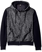 Southpole Men's Hooded Full Zip Fleece in Marled Colors with Solid Sleeves