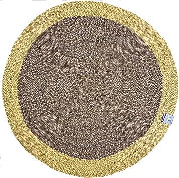 Amazon De Runder Teppich Aus Jute Rund 120 X 120 Cm Grau Beige