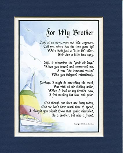 Amazon A Gift Present Poem For Brother 64 30th 40th 50th