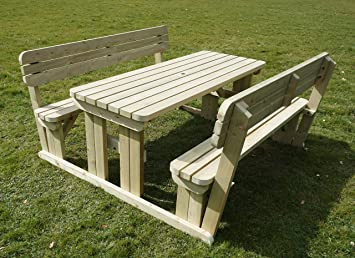 GMS TIMBER LTD ALDERS Rounded Wooden Garden Picnic Table And Benches - Picnic table with backrest