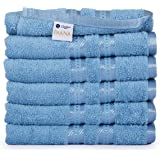 """Casa Lino Large Hand Towels 6 Pack, 16""""x28"""" inches, 500 GSM Thick 100% Ringspun Cotton Towels, Highly Absorbent Easy Care Machine Wash-Diana Collection (Electric Blue)"""