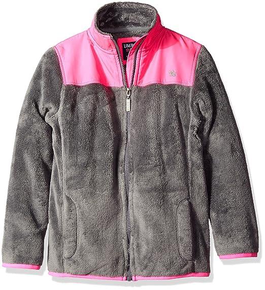 0224aa607 Limited Too Teddy Bear - Chamarra de Forro Polar para niña, Light Grey/Hot
