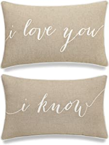 """EURASIA DECOR I Love You I Know Set of 2 pcs Embroidered Decorative Lumbar Accent Throw Pillow Cover - for Couple, Bedroom, Wedding Gift (Linen, 12""""x20"""")"""