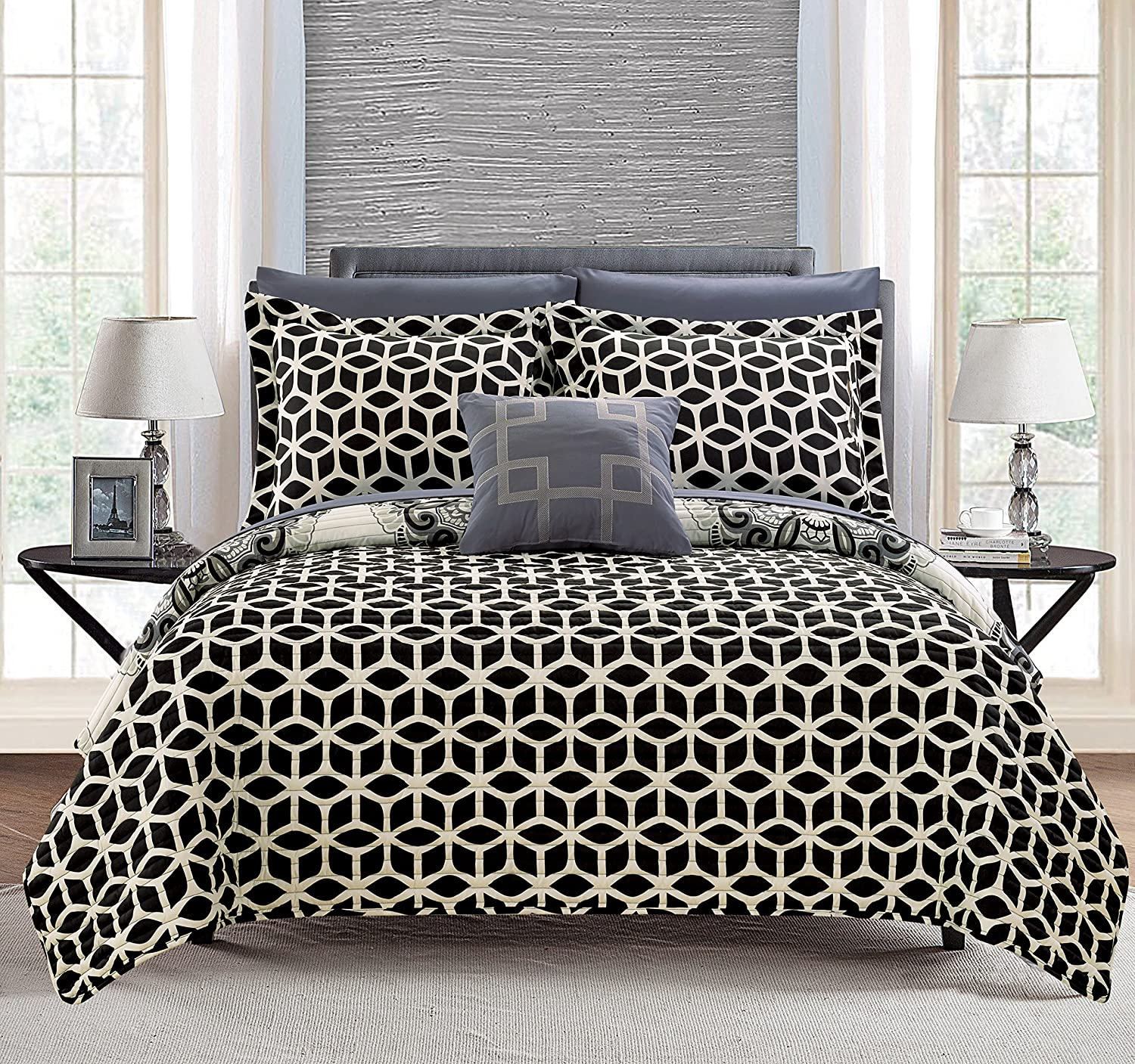 Chic Home Madrid 4 Piece Reversible Quilt Set Super Soft Microfiber Large Printed Medallion Design with Geometric Patterned Backing Bedding Set